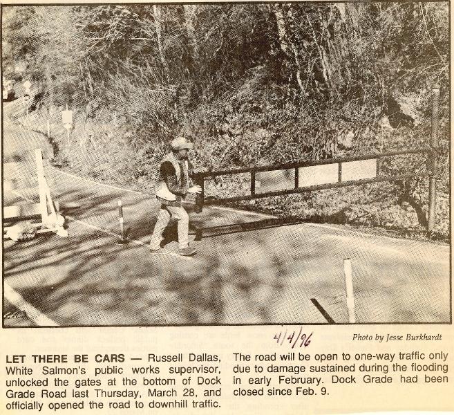 1996 Russ Dallas opens Dock Grade Road barrier