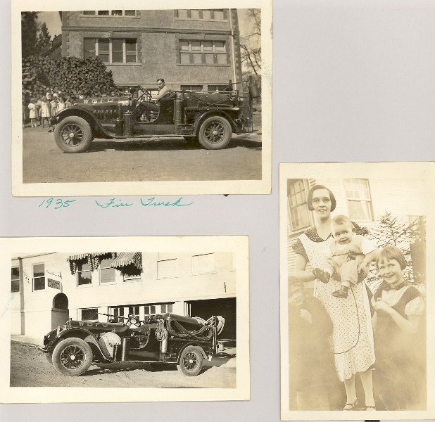 1935 White Salmon fire truck & Edith Collins-Dalla