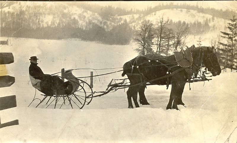 1917 Will Lauterbach in family sleigh